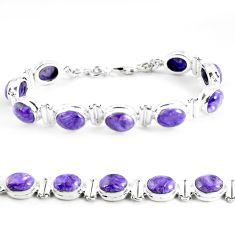 37.45cts natural purple charoite (siberian) 925 silver tennis bracelet p64447