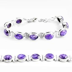 36.87cts natural purple charoite (siberian) 925 silver tennis bracelet p64448