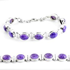 37.45cts natural purple charoite (siberian) 925 silver tennis bracelet p64449