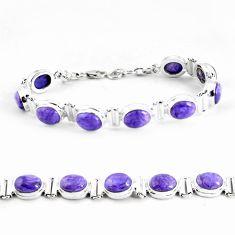 36.14cts natural purple charoite (siberian) 925 silver tennis bracelet p64459