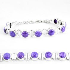 32.05cts natural purple charoite (siberian) 925 silver tennis bracelet p65091