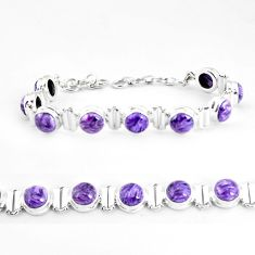 29.54cts natural purple charoite (siberian) 925 silver tennis bracelet p65096
