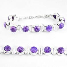 31.26cts natural purple charoite (siberian) 925 silver tennis bracelet p65097