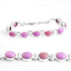 37.88cts natural purple phosphosiderite 925 silver tennis bracelet p39041