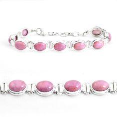38.31cts natural purple phosphosiderite 925 silver tennis bracelet p39043