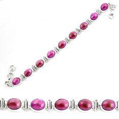 36.16cts natural purple phosphosiderite 925 silver tennis bracelet p70666