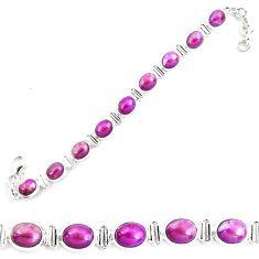 35.83cts natural purple phosphosiderite 925 silver tennis bracelet p70668