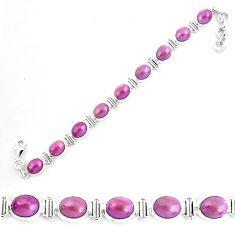 39.01cts natural purple phosphosiderite 925 silver tennis bracelet p70679