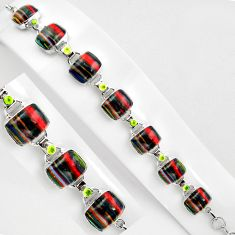 46.22cts natural rainbow calsilica peridot 925 silver tennis bracelet p89039