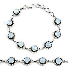 9.44cts natural rainbow moonstone 925 silver tennis bracelet jewelry p68002