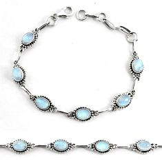 10.53cts natural rainbow moonstone 925 silver tennis bracelet jewelry p68003