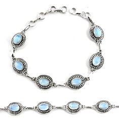 9.72cts natural rainbow moonstone 925 silver tennis bracelet jewelry p68005