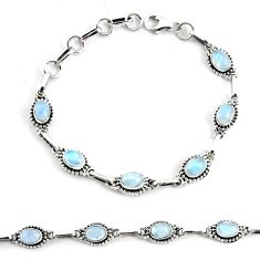 9.23cts natural rainbow moonstone 925 silver tennis bracelet jewelry p68006