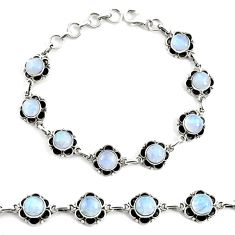 19.04cts natural rainbow moonstone 925 silver tennis bracelet jewelry p68008