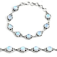 19.04cts natural rainbow moonstone 925 silver tennis bracelet jewelry p68017