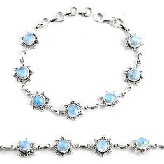 9.18cts natural rainbow moonstone 925 silver tennis bracelet jewelry p68018