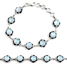 19.34cts natural rainbow moonstone 925 silver tennis bracelet jewelry p68020