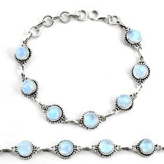 17.84cts natural rainbow moonstone 925 silver tennis bracelet jewelry p68113