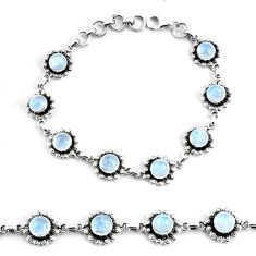 10.95cts natural rainbow moonstone 925 silver tennis bracelet jewelry p68114