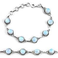 9.51cts natural rainbow moonstone 925 silver tennis bracelet jewelry p68118