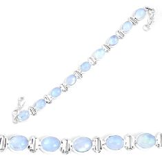 38.92cts natural rainbow moonstone 925 sterling silver tennis bracelet p48169