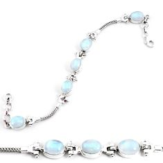 20.85cts natural rainbow moonstone 925 sterling silver tennis bracelet p54699