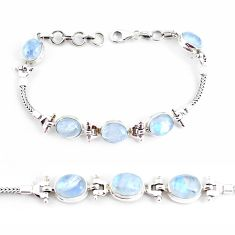 21.39cts natural rainbow moonstone 925 sterling silver tennis bracelet p54834