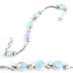 22.04cts natural rainbow moonstone 925 sterling silver tennis bracelet p54838