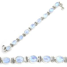 40.22cts natural rainbow moonstone 925 sterling silver tennis bracelet p72963