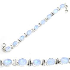 38.72cts natural rainbow moonstone 925 sterling silver tennis bracelet p72973
