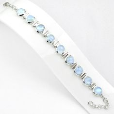 30.09cts natural rainbow moonstone 925 sterling silver tennis bracelet p81403