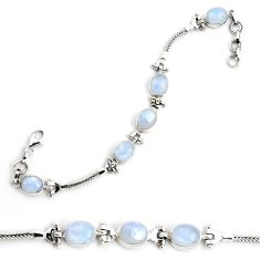 22.34cts natural rainbow moonstone 925 sterling silver tennis bracelet p87781
