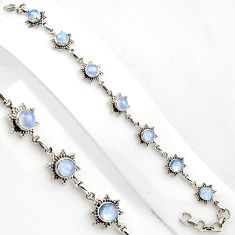 9.18cts natural rainbow moonstone 925 sterling silver tennis bracelet p89155
