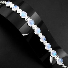 29.23cts natural rainbow moonstone 925 sterling silver tennis bracelet p89645