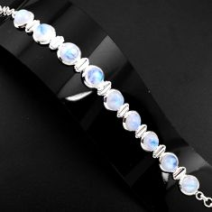 30.48cts natural rainbow moonstone 925 sterling silver tennis bracelet p89647