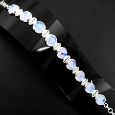 30.11cts natural rainbow moonstone 925 sterling silver tennis bracelet p89649