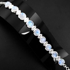 30.11cts natural rainbow moonstone 925 sterling silver tennis bracelet p89650