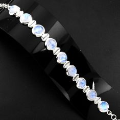 30.52cts natural rainbow moonstone 925 sterling silver tennis bracelet p89651