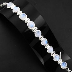 30.03cts natural rainbow moonstone 925 sterling silver tennis bracelet p89653
