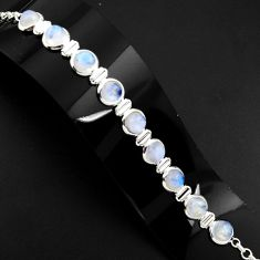 30.52cts natural rainbow moonstone 925 sterling silver tennis bracelet p89654