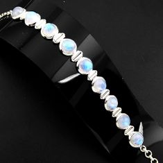 30.38cts natural rainbow moonstone 925 sterling silver tennis bracelet p89655