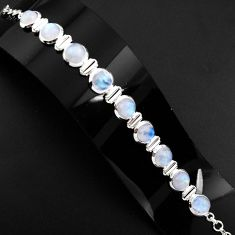 30.48cts natural rainbow moonstone 925 sterling silver tennis bracelet p89657