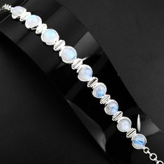 30.11cts natural rainbow moonstone 925 sterling silver tennis bracelet p89658