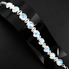 30.81cts natural rainbow moonstone 925 sterling silver tennis bracelet p89659