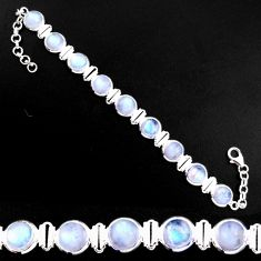 28.99cts natural rainbow moonstone 925 sterling silver tennis bracelet p92881