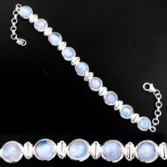 30.11cts natural rainbow moonstone 925 sterling silver tennis bracelet p92882