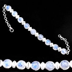 29.81cts natural rainbow moonstone 925 sterling silver tennis bracelet p92892