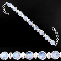 29.23cts natural rainbow moonstone 925 sterling silver tennis bracelet p92896