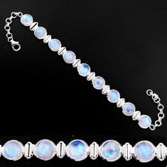 30.52cts natural rainbow moonstone 925 sterling silver tennis bracelet p92897