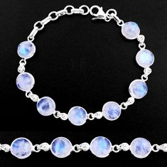 33.68cts natural rainbow moonstone 925 sterling silver tennis bracelet p92903